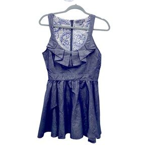 Forever 21 Ruffled A Line Chambray Dress M